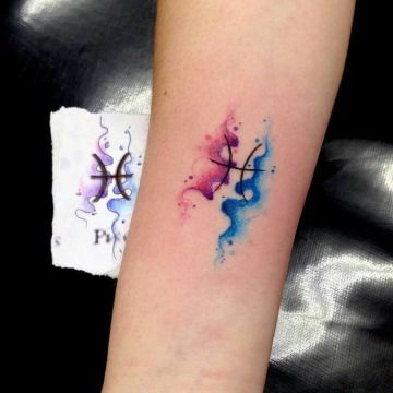 watercolor Pisces tattoo