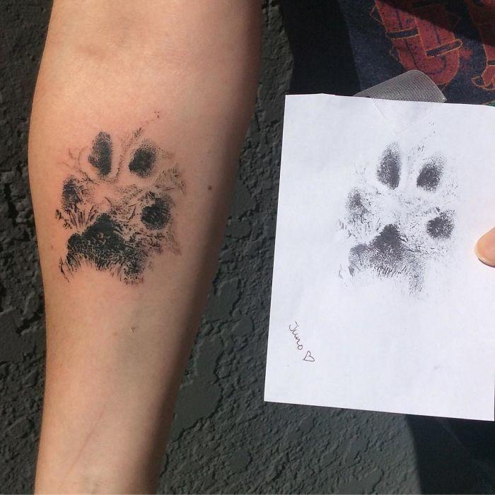 dog paw print tattoo
