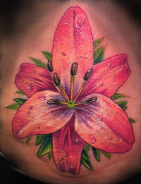 Realistic color flower tattoo